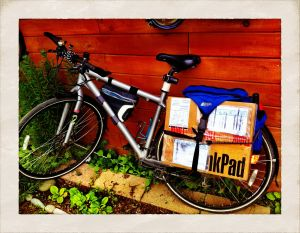 My bicycle carrying a precious package